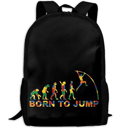Born To Jump Pole Vault Evolution Interest Print Custom Unique Casual Backpack School Bag Travel Daypack Gift