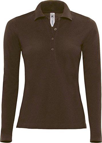B & C Ladies Casual Wear Tees Top Safran Pure manga larga Mujer Camiseta de rugby. marrón