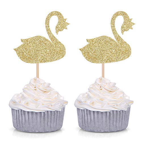 24 Counts Swan Lake Ballerina Cupcake Toppers for Princess Girl Birthday Party Supply - Gold