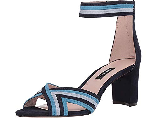 Nine West Womens Pearl Heeled Sandal French Navy/Sea Blue/Ice Blue 9.5 M