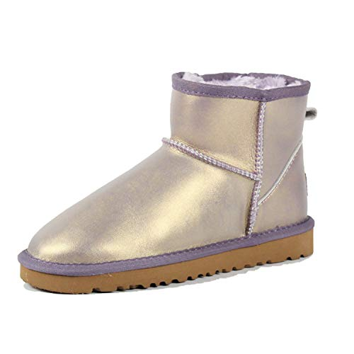 colorful-space Leather Ankle Boots Warm Winter Boots Large Size 35-42,Metal Purple,7.5 ()