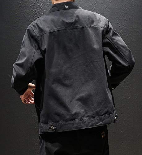 Black Pockets Down Casual MogogoMen Jacket Collar Multicam Trucker Button Turn zaHwFCq