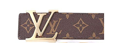 Fashion Belt Buckle - Brown-Gold fashion leather metal buckle belt (Brown gold, (37-40)120cm)