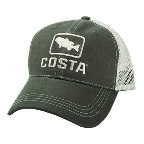 - Costa Del Mar Bass Trucker Hat, Moss/Stone, X-Large