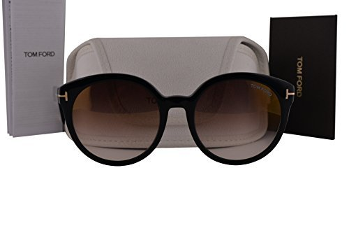 Tom Ford FT0503 Philippa Sunglasses Shiny Black w/Brown Mirror Lens 01G TF503 by Tom Ford