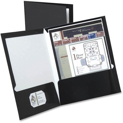 Oxford Laminated Twin Pocket Folders - Letter - 8.50quot; Width x 11quot; Length Sheet Size - 2 Pockets - Black - (Oxford Two Pocket)