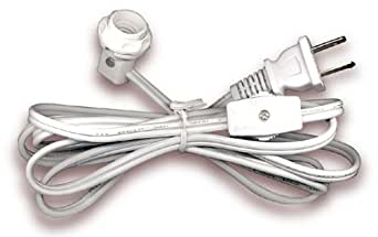 Electrical Cord Set Has Candelabra Socket With Screw-On Collar and Switch. 6 Ft. White (Set Of 5)