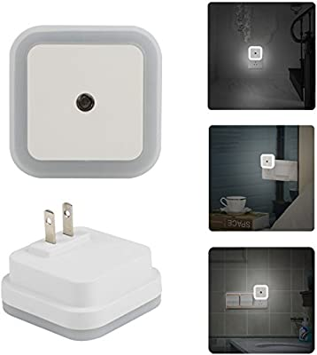 GPCT 0.5W Plug-In Light LED Wall Night Light. Auto ON/OFF, Dusk To Dawn Smart Sensor, Daylight Cool White Lighting- Hallway, Bathroom, Bedroom, Kids/Baby's Room/Baby Nursery, Kitchen, Garage- 2 PACK