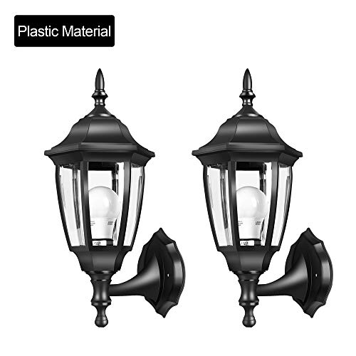 EMART Outdoor Porch Light LED Exterior Wall Light Fixtures, Special Handling Anti-Corrosion Plastic Material, Waterproof Security Lamp for Wall, Garage, Front Porch - 2 - Solar Plastic Lamps