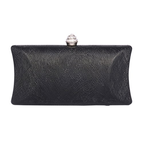 Women's Intersect of Cut Party Line Black Clutch Day Purse Out Saturn 46wExqEnST