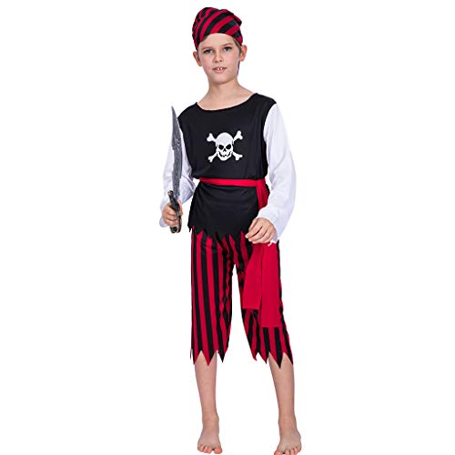 EraSpooky Boy's Pirate Costume Kids Halloween Costumes Boys Dress Up Pirate Suit - Funny Cosplay Party -