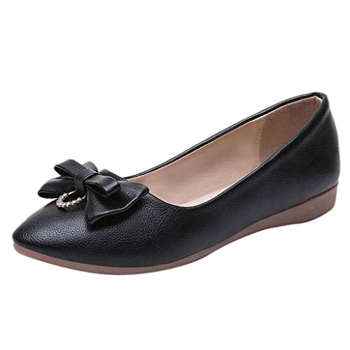 Women's Soft Leather Flats Driving Loafers Casual Penny Slip-on Moccasins Comfort Breathable Walking Work Shoes (US:7, Black)