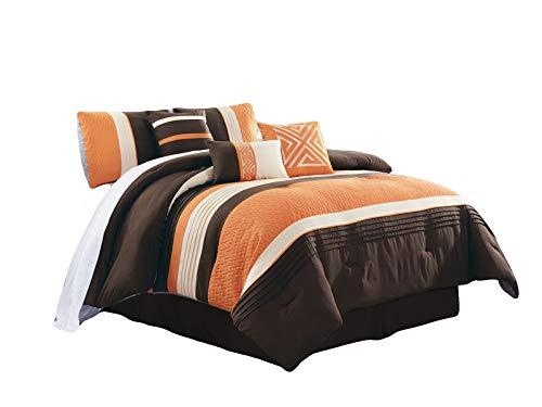 HGS 7-Pc Clio Triangle Meander Greek Key Embroidery Embossed Zigzag Herringbone Pleated Comforter Set Orange Brown Ivory Queen