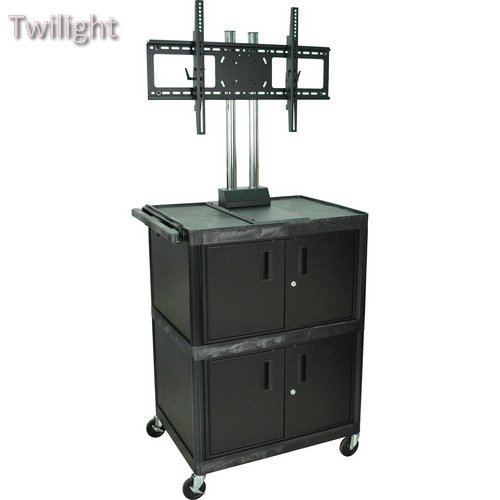 Lcd Luxor (Luxor Mobile Cabinet Cart with Universal LCD TV Mount & 2 Cabinets (Black))