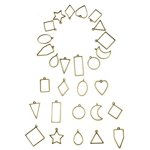 Jewelry Resin Charm (JETEHO Open Bezels Charms Pendant Set with 14 Styles - Zinc Alloy Blank Frame Pendant Open Back Bezel Pendant Blanks for UV Resin Crafts/Jewelry Making(28pcs, Bronze))