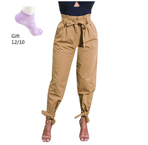 GoodLock Women Belted High Waist Pants Ladies Party Casual Trousers Pants (Khaki, Medium)