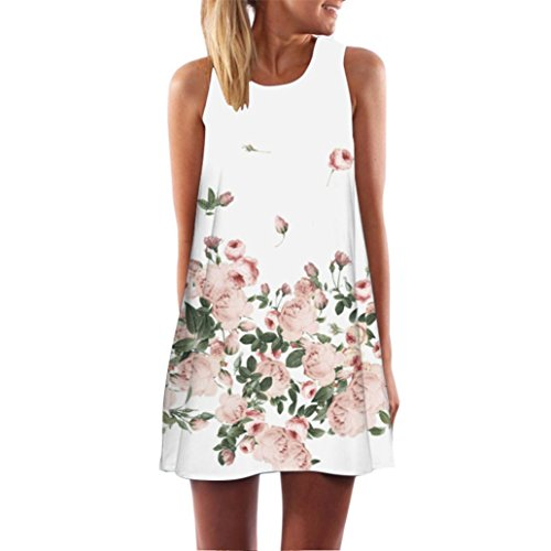 Clearance! Ruhiku GW Womens Dress Summer O-Neck Boho Sleeveless Floral Printed Beach Mini Dress Casual T-Shirt Short Dress (M, I)