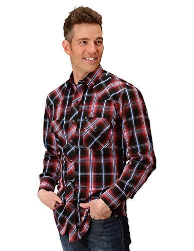 (Roper Apparel Mens Plaid Snap Shirt L Red/Black/White)