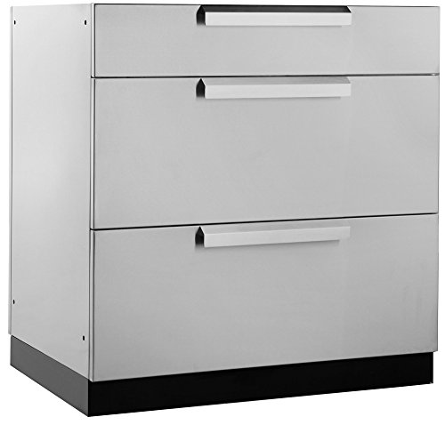 NewAge Products Inc. 65002 Outdoor Kitchen Storage, 3 Drawer Cabinet, Stainless Steel