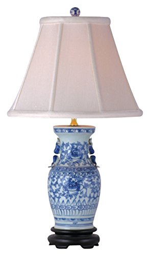East LPJBW1010F Table Lamp, Blue/White