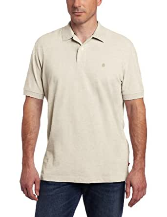 IZOD Men's Short Sleeve Basic Heritage Pique Polo, Rock Heather, Small