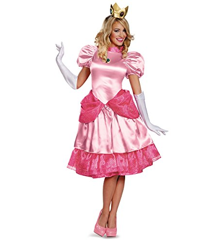 Princess Peach Deluxe Adult Costumes (Princess Peach Deluxe Costume - Medium - Dress Size 8-10)