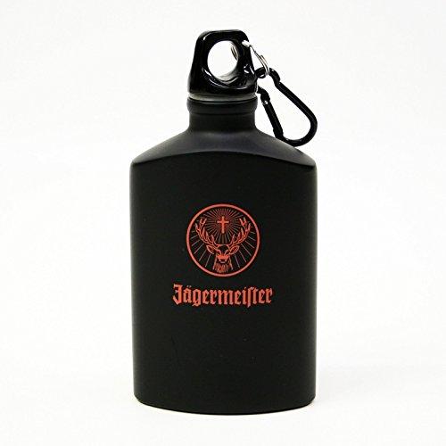 Jagermeister Orange Stag Logo Black Aluminum Water Bottle Canteen Flask