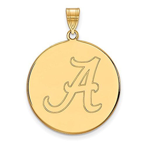 (10k Yellow Gold University of Alabama Crimson Tide School Letter on Disc Pendant XL - (26 mm x 25)