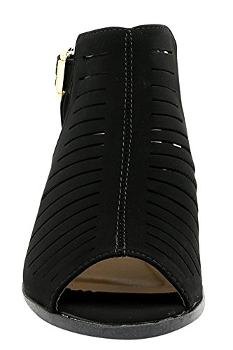 Top Moda - Women's Laser Cut Open Toe Short Heel Booties,8 B(M) US,Black by Top Moda (Image #4)