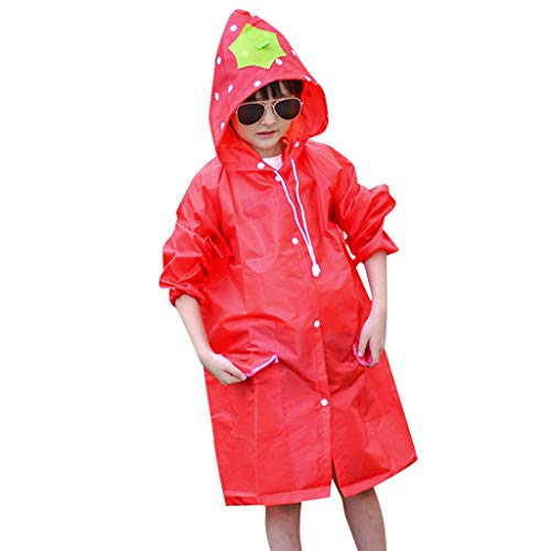 Cuekondy 2-8 Years Old Baby Boys Girls Children 2019 Summer Cute Cartoon Raincoat Waterproof Hooded Long Rainwear Poncho Cape Rain Jacket (Red) (Best Rain Poncho 2019)