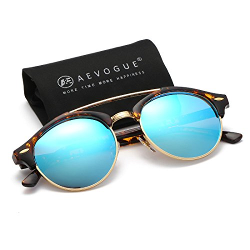 AEVOGUE Polarized Sunglasses Mens Semi-Rimless Retro Unisex Glasses AE0504 (Tortoise&Blue, - Sunglasses Round Men Best