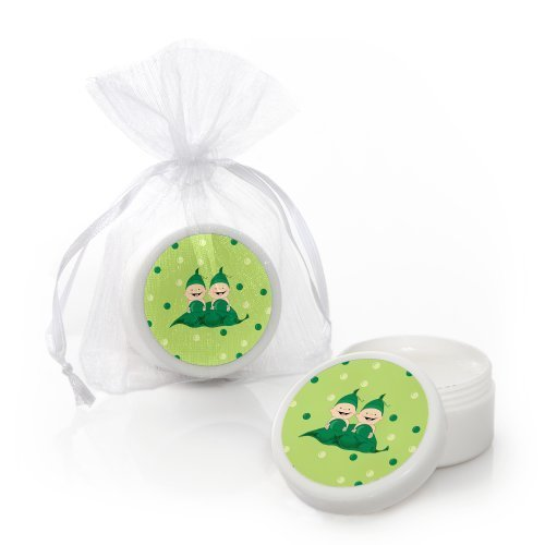 Twins Two Peas in a Pod Caucasian - Lip Balm Baby Shower or Birthday Party Favors - Set of 12