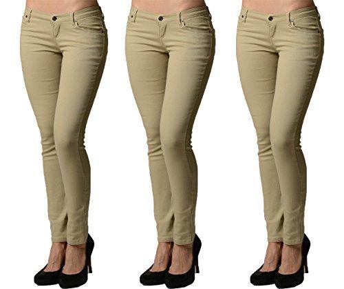 (Dinamit Jeans Juniors 5 Pocket Skinny Uniform Pant Khaki-Khaki-Khaki-7)