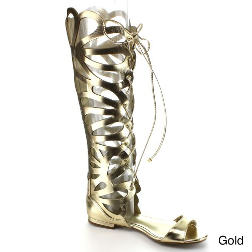 Breckelles Solo-35 Lace Up Cut Out Shaft Back Zipper Gladiator Flat Sandals Gold K5rO4WYYs