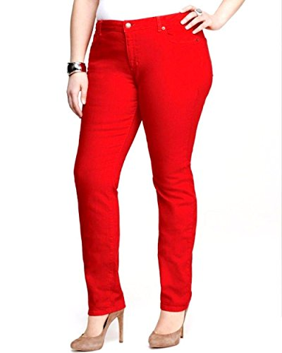 NEW 1826 Twill Pants High Waist Womens Plus Size Skinny Leg (16, RED)
