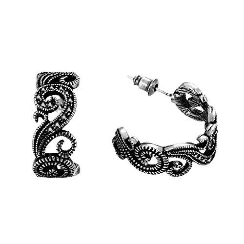Slyq Jewelry Black Punk Tin Alloy Stud Brand Earring ED2234 (Tin Man Nose)