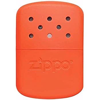 Hand Warmer 12 Hour Orange Zippo Outdoor Indoor Windproof Lighter Free Custom Personalized Engraved Message Permanent Lifetime Engraving on Backside (Orange)
