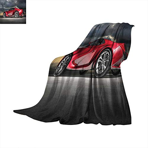 - Cars Weave Pattern Extra Long Blanket Modern Red Sports Car on Dramatic Sky Backdrop with Dark Cloudscape Strong Engine Digital Printing 60