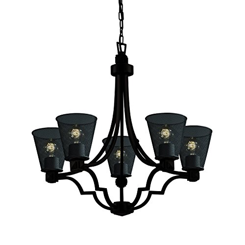 Justice Design Group Wire Mesh Collection - Argyle 5-Light Chandelier - Cone - Dark Bronze Finish with Wire Mesh Shade Argyle 5 Light Pendant