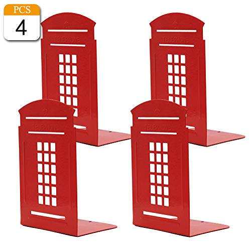 VONDERSO Bookends Telephone Booth Heavy Metal Non-Slip Durable Gift for Bookshelf Decor Home Office School Library (Red-2pairs)