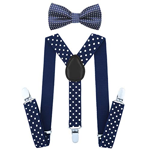 Child Kids Suspenders Bowtie Set - Adjustable Suspender Set for Boys and Girls(25Inches (5 Months to 6 Years),Navy blue Polka dot) -