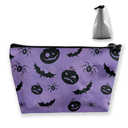 pengyong Halloween Pumpkin Bats and Spiders Makeup Bag Large Trapezoidal Storage Travel Bag Wash Cosmetic Pouch Pencil Holder Zipper -