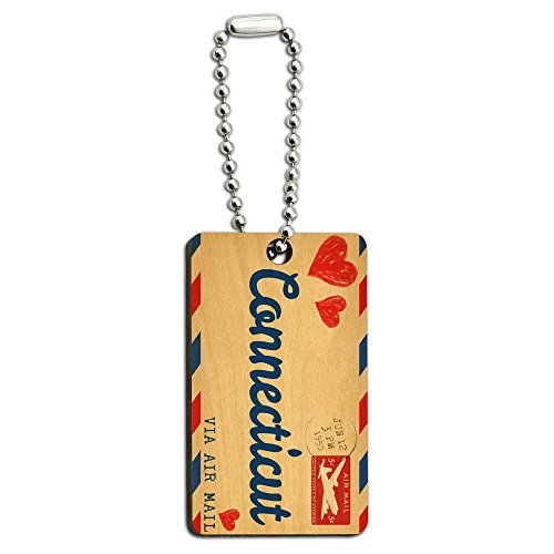 Air Mail Postcard Love for Connecticut Wood Wooden Rectangle Key ()