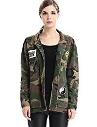 Escalier Women's Military Camouflage Camo Jacket Denim Coats