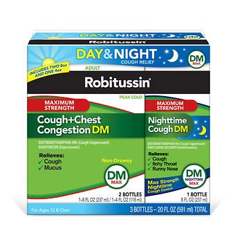 Robitussin DM Max Cough and Chest Congestion Day and Night,(3 Bottles) 20 oz.
