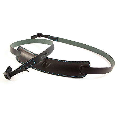 4V Design Classic Medium Handmade Leather Camera Strap w/Universal Fit Kit, Black/Cyan (2CLVV0930BM)