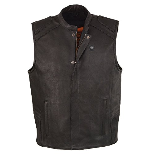 (Milwaukee Leather Men's Zipper Front Vest with Heated Technology (BATTERY PACK INCLUDED) (Black, 2XL))