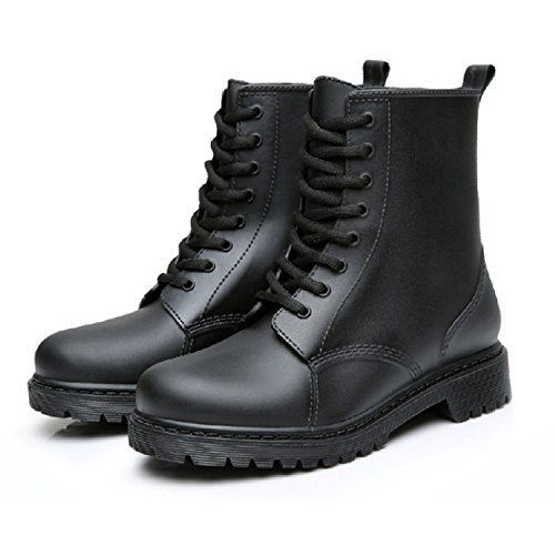 Rain Boots Waterproof Shoes Woman Water Rubber Lace Up Martin Boots Sewing Solid Flat With Shoes Black - Arundel Mill