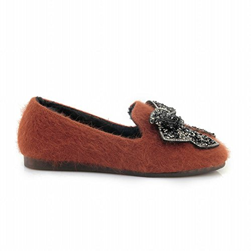 Foot Shoes Charm Loafers Womens Bows Winter Orange Flat Rhinestone Comfort dwapqFw86