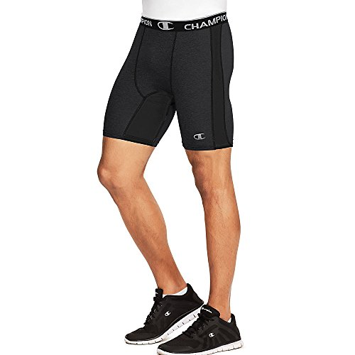 Champion Men's Power Flex Solid Compression Shorts 6-inch_Black_L